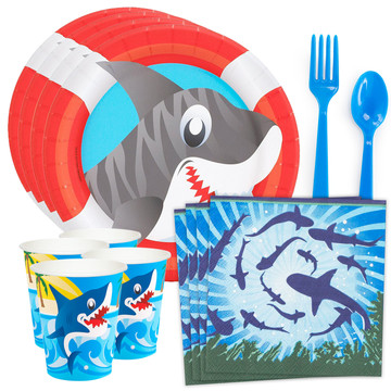 Shark Party Standard Tableware Kit (Serves 8)