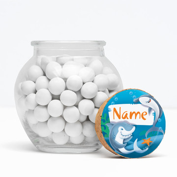 """Sharks Personalized 3"""" Glass Sphere Jars (Set of 12)"""
