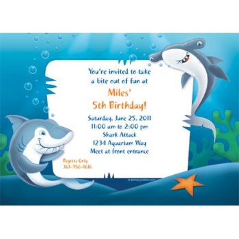 View larger image of Sharks Personalized Invitation (each)