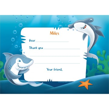 Sharks Personalized Thank You Note (each)