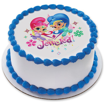 "Shimmer and Shine 7.5"" Round Edible Cake Topper (Each)"