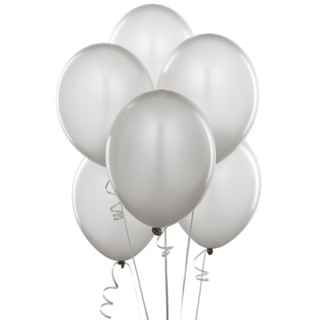 Shimmering Silver (Silver) Balloons (6)