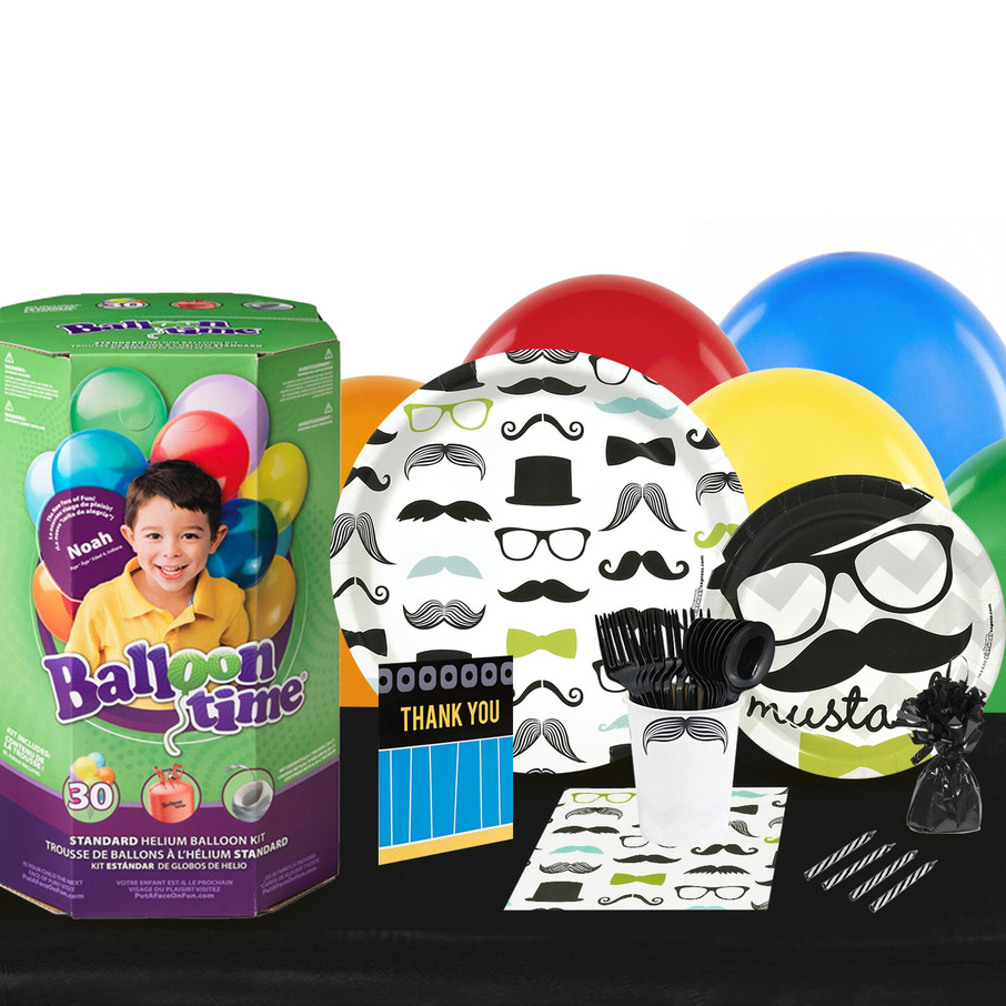 View larger image of Mustache Man 16 Guest Kit with Tableware and Helium Kit