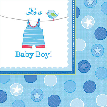 Shower With Love Baby Boy Luncheon Napkin (16 Count)