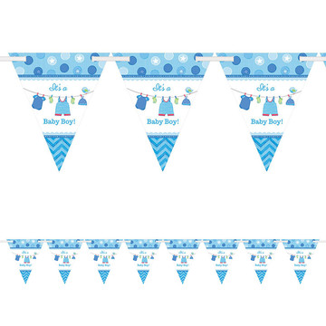 Shower With Love Baby Boy Pennant Banner (Each)