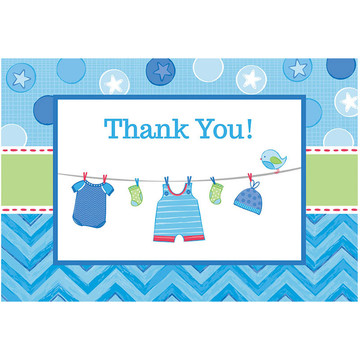 Shower With Love Baby Boy Postcard Thank You Cards (8 Count)