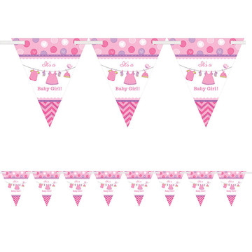 Shower With Love Baby Girl Pennant Banner (Each)