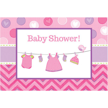 Shower With Love Baby Girl Postcard Invitations (8 Count)