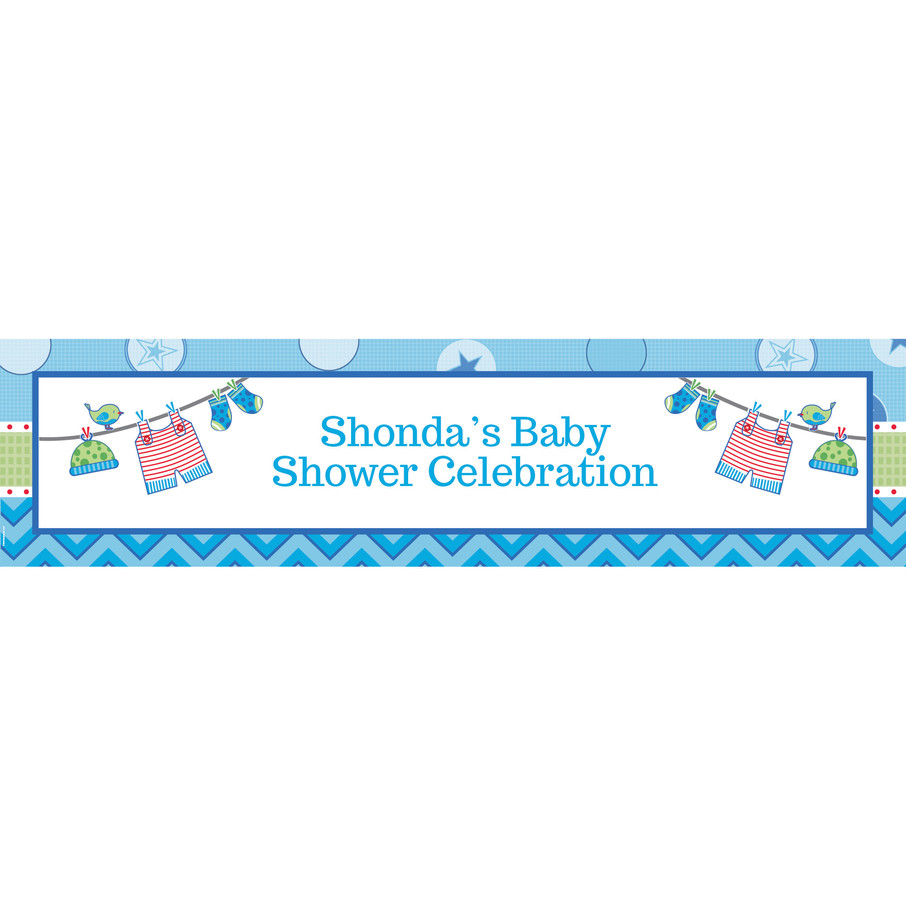 View larger image of Shower With Love Blue Personalized Banner (Each)