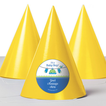 Shower With Love Blue Personalized Party Hats (8 Count)