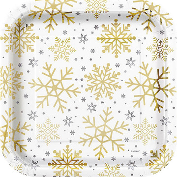 Gold /& Silver Snowflakes Christmas Plastic Party Tablecover Seasonal Tableware