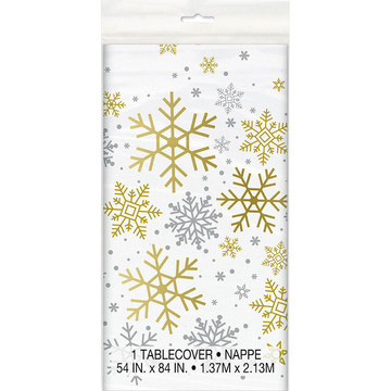 Silver and Gold Snowflake Plastic Tablecover (1)