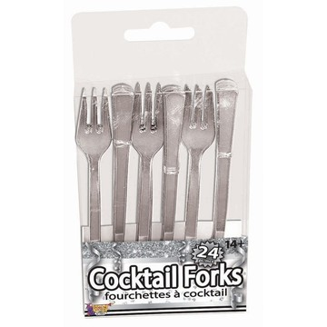 Silver Cocktail Forks, 24ct