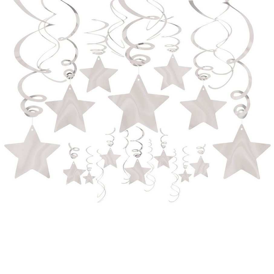 View larger image of Silver Foil Star Hanging Decorations