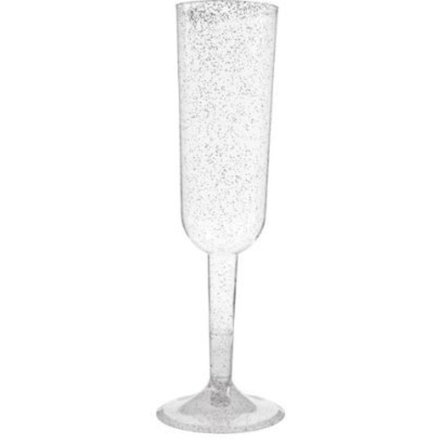 View larger image of Silver Glitter Champagne Flutes (4)