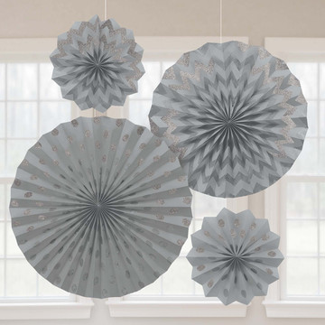 Silver Glitter Paper Fan Decorations (4 Pack)
