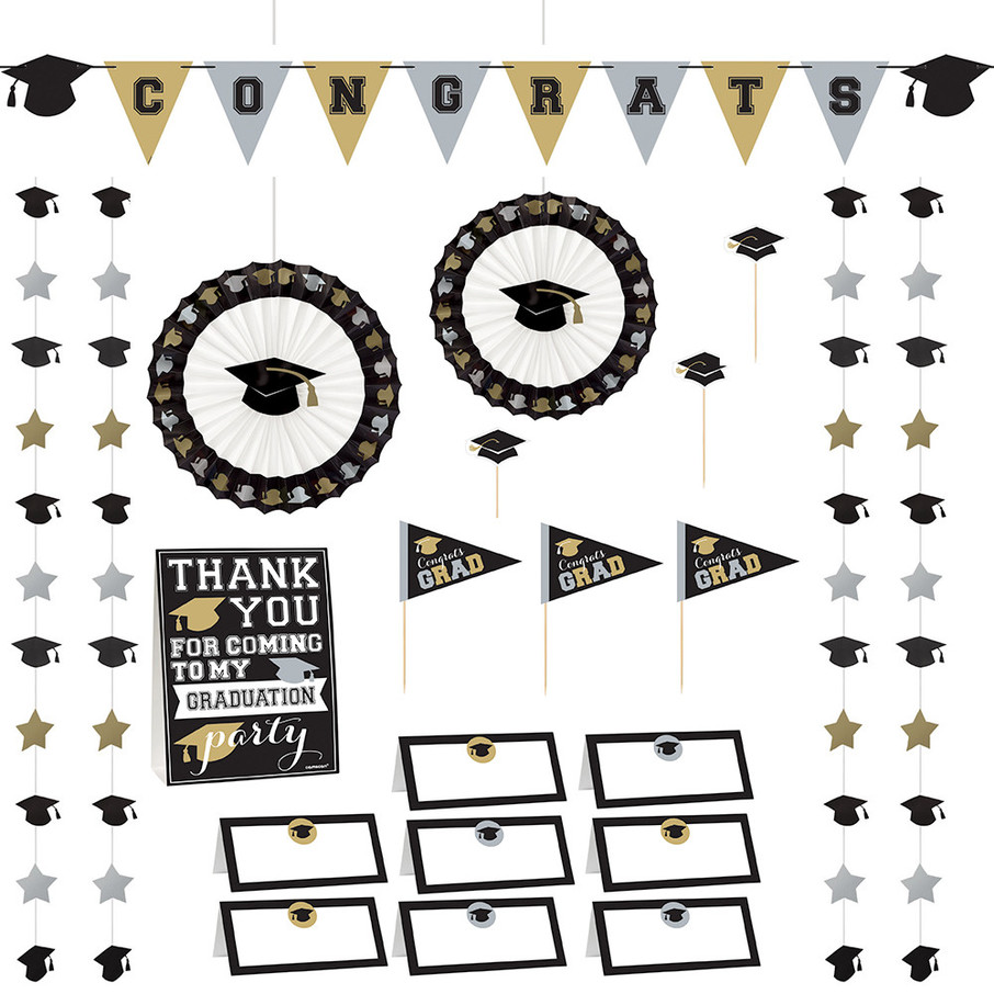 View larger image of Silver & Gold Graduation Buffet Decorating Kit