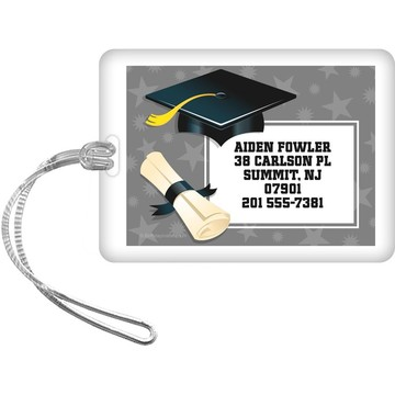 Silver Grad Personalized Luggage Tag (Each)