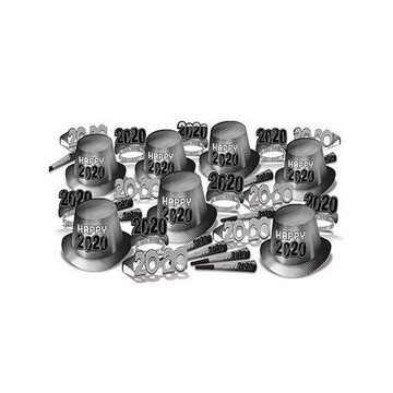 """Silver New Year """"2020"""" Assorted Party Kit for 50"""