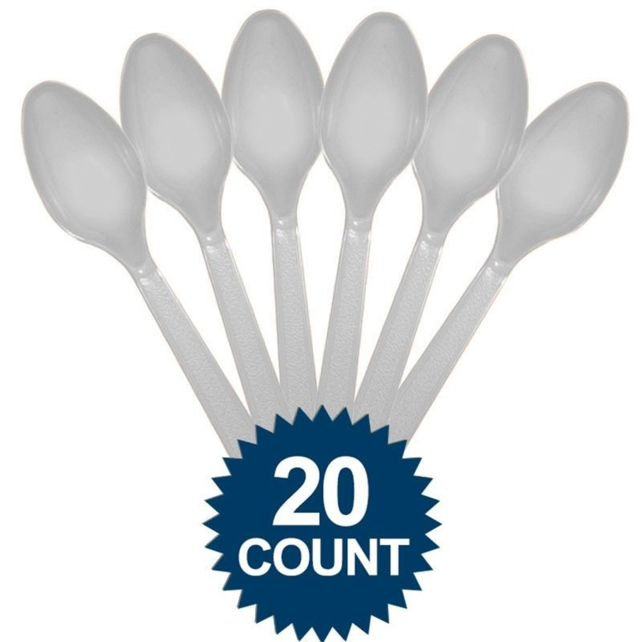 View larger image of Silver Plastic Spoons (20 Pack)