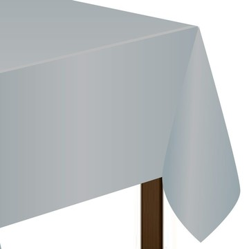 "Silver Plastic Tablecover, 54""-108"""
