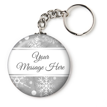 "Silver Snowflake Personalized 2.25"" Key Chain (Each)"
