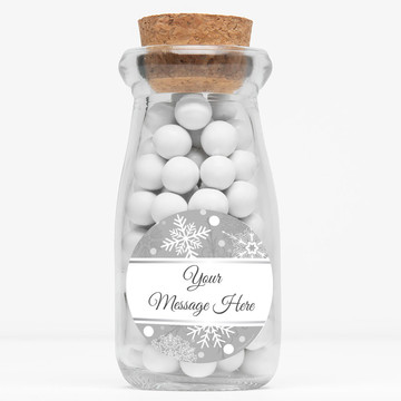 """Silver Snowflake Personalized 4"""" Glass Milk Jars (Set of 12)"""