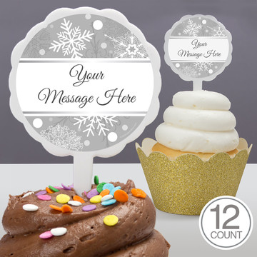 Silver Snowflake Personalized Cupcake Picks (12 Count)