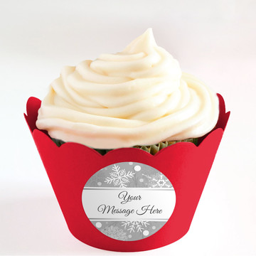 Silver Snowflake Personalized Cupcake Wrappers (Set of 24)