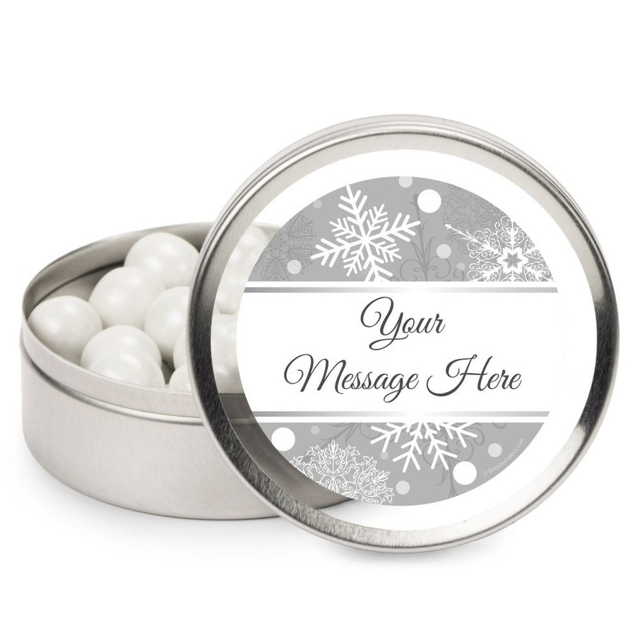 View larger image of Silver Snowflake Personalized Mint Tins (12 Pack)