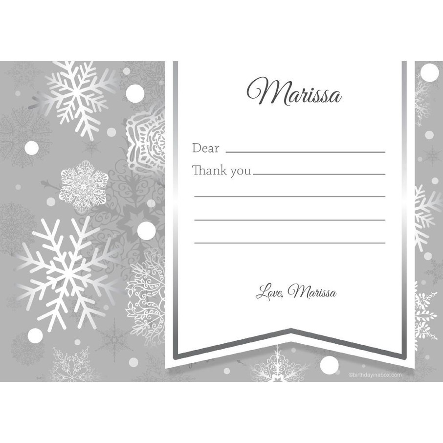 View larger image of Silver Snowflake Personalized Thank You (Each)