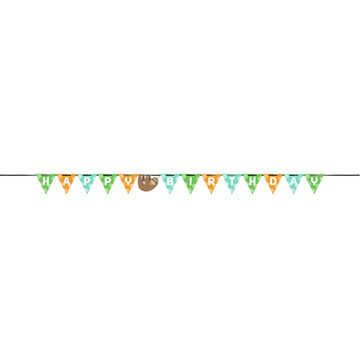 Sloth Happy Birthday Ribbon Banner