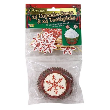 Snow Flake Christmas Cupcake & Picks Set (24 Each)