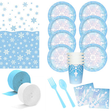 Snowflake Wonderland Deluxe Tableware Kit (Serves 8)
