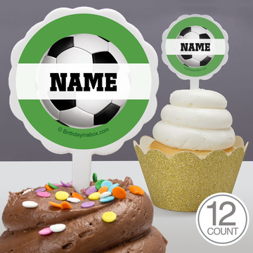 Soccer Party Personalized Cupcake Picks (12 Count)