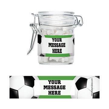 Soccer Party Personalized Glass Apothecary Jars (12 Count)