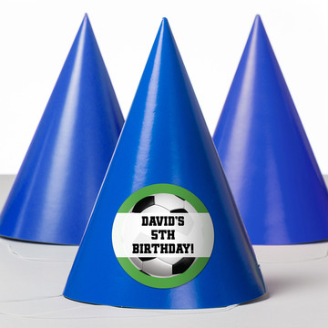 Soccer Party Personalized Party Hats (8 Count)