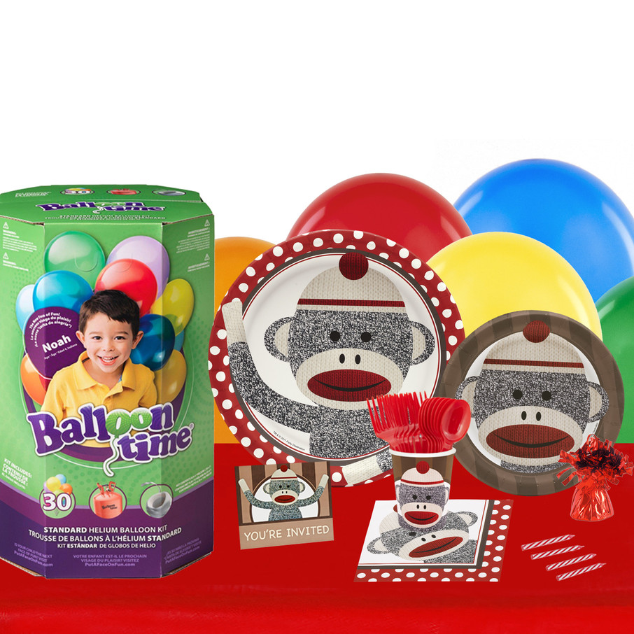 View larger image of Sock Monkey Red 16 Guest Kit with Tableware and Helium Kit