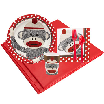 Sock Monkey Red 8 Guest Party Pack