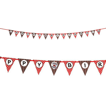 Sock Monkey Red Ribbon Flag Banner