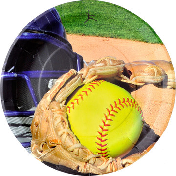 "Softball 9"" Luncheon Plate (8 Count)"