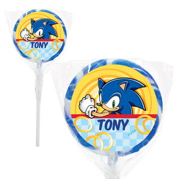 "Sonic Personalized 2"" Lollipops (20 Pack)"