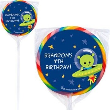 Space Alien Personalized Lollipops (pack of 12)