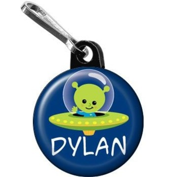 Space Alien Personalized Mini Zipper Pull (each)
