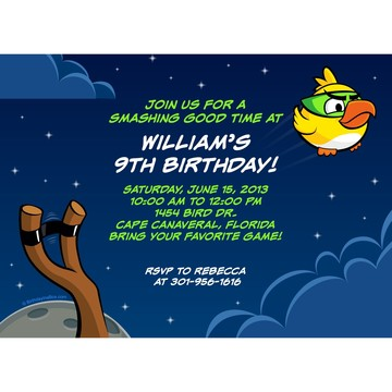 Space Birds Personalized Invitation (Each)