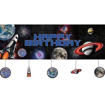 Space Blast Party Banner w/ Hanging Attachments (Each)