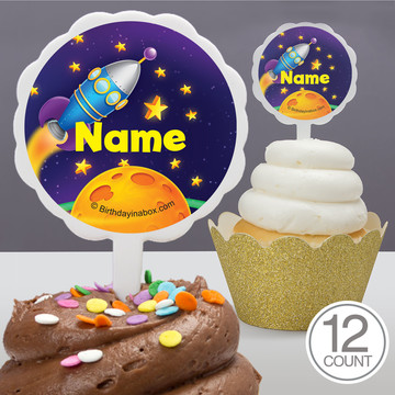 Space Personalized Cupcake Picks (12 Count)