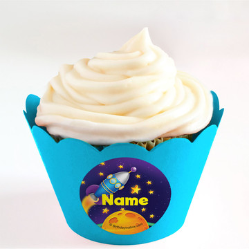 Space Personalized Cupcake Wrappers (Set of 24)