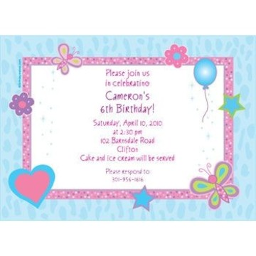 Sparkle Butterfly Personalized Invitation (each)