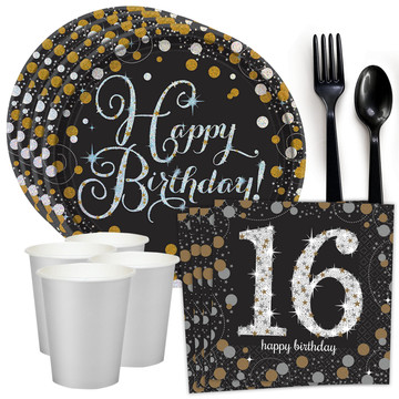 Sparkling Celebration 16th Birthday Standard Tableware Kit (Serves 8)